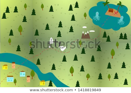 vector flat style illustration of treasure island and map stock photo © curiosity
