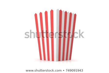 Popcorn hand papier vak mais leuk Stockfoto © popaukropa