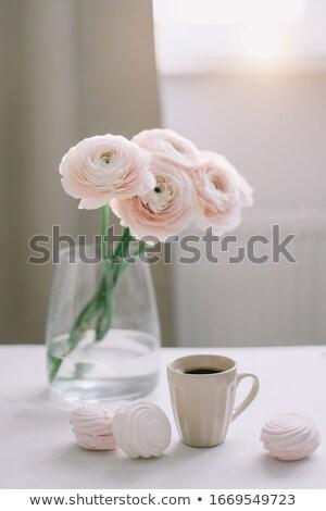 Romantischen feminine Kaffee Rosen weiß Stock foto © manera