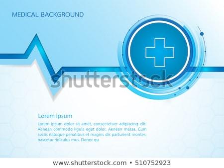 Azul médico batida de coração linha medicina ciência Foto stock © SArts