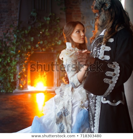 Fine art photo of beautiful woman and the beast stock photo © konradbak