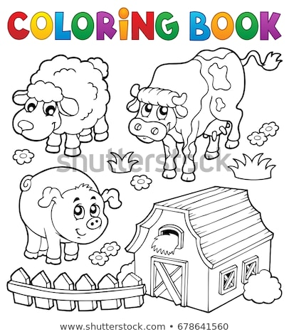 Coloring book with farm animals 6 Stock photo © clairev