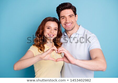 Stockfoto: Vrouw · hart · gezicht · glimlachende · vrouw