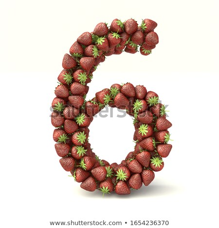 Number 6 Strawberry font. Red Berry lettering six alphabet. Frui Stock photo © popaukropa
