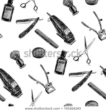 Fodrász bolt kezek olló fésű pop art Stock fotó © studiostoks