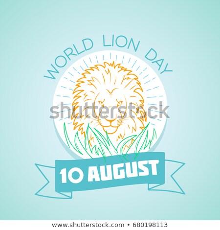 Vacances monde lion jour linéaire style Photo stock © Olena