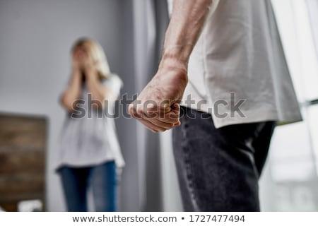 Przemoc w rodzinie ilustracja żona płyty mąż Zdjęcia stock © lenm