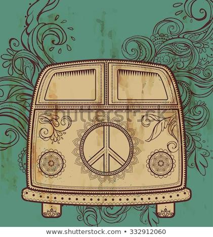 girl with peace symbol in minivan Stock photo © LightFieldStudios