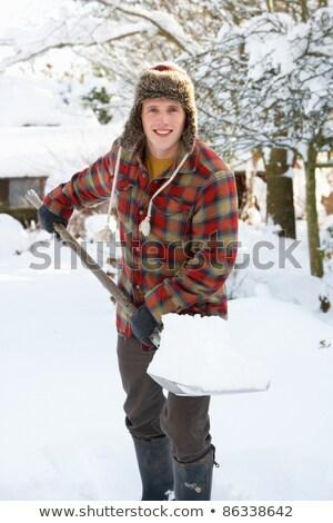 Kar portre gülen genç kadın mutlu kar fırtınası Stok fotoğraf © saje
