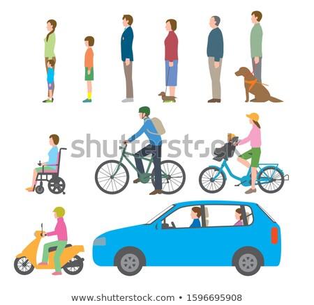 Jeune femme chien voiture électrique femme route ville Photo stock © IS2