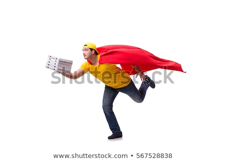 Szuperhős pizza házhozszállítás fickó izolált fehér Stock fotó © Elnur