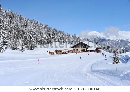 Neige couvert montagnes alpine hutte nature Photo stock © IS2