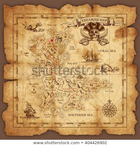 Mappa del tesoro pergamena illustrazione soldi carta tropicali Foto d'archivio © adrenalina