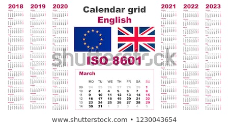 Foto stock: Set Wall Calendar 2018 2019 2020 2021 Grid Template
