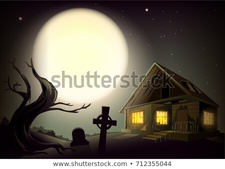 Halloween gloomy night landscape. Big full moon in sky. House with glow windows, tree and cemetery Stock photo © orensila