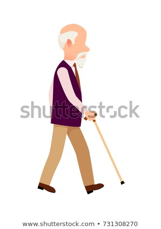 Person with Cane Thin Stick Curved Handle Isolated Stock photo © robuart