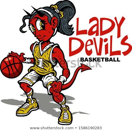 ördög kosárlabda sportok kabala rajzfilmfigura tart Stock fotó © Krisdog