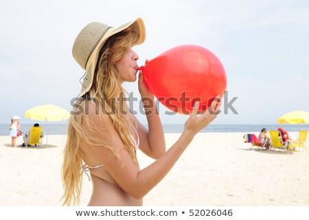 великолепный · счастливым · блондинка · позируют · пляж - Сток-фото © dolgachov