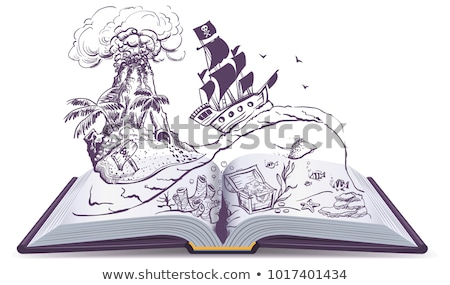 open book about pirates and treasure ship sailboat pirate swims on waves treasure island stock photo © orensila