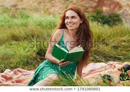 fiatal · nő · bikini · ül · móló · tó · hátulnézet - stock fotó © is2