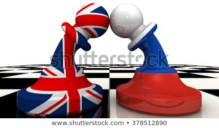Conflict groot-brittannië Rusland twee vlaggen schedel Stockfoto © romvo