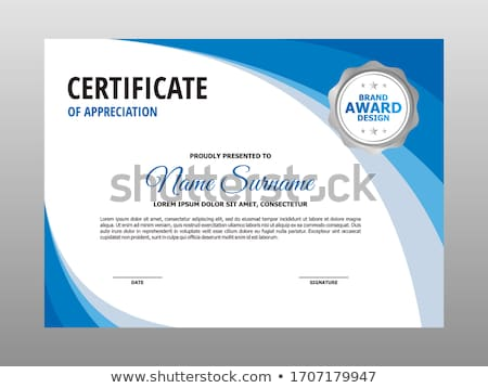 stylish blue wave certificate of appreciation template Stock photo © SArts