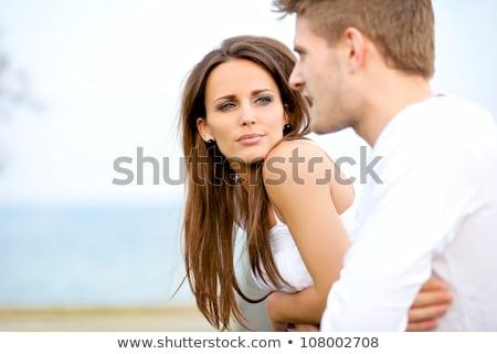 Aşıklar adam kadın konuşma komik karikatür Stok fotoğraf © rogistok
