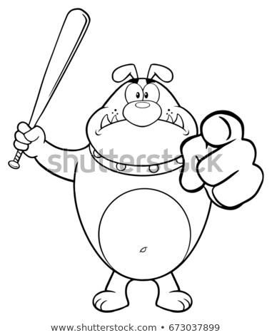 Siyah beyaz öfkeli buldok karikatür maskot karakter Stok fotoğraf © hittoon