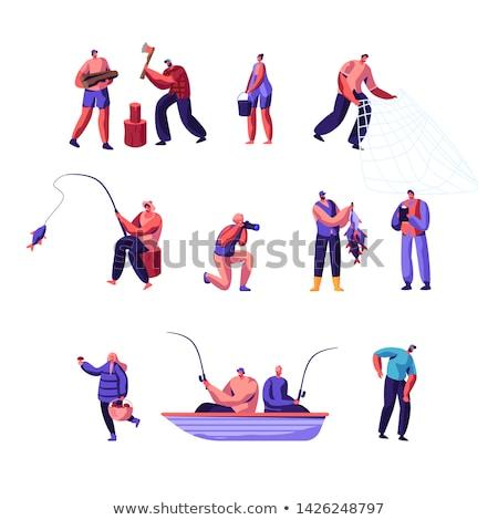 Pescador mujer pie caña de pescar mar costa Foto stock © Anna_Om