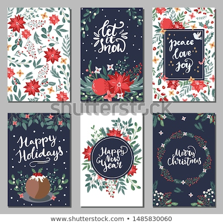 White lettering Merry Christmas for greeting card on blue background. Vector illustration. Stock photo © FoxysGraphic