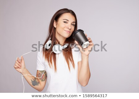woman with coffee wearing blank black shirt stock photo © sumners