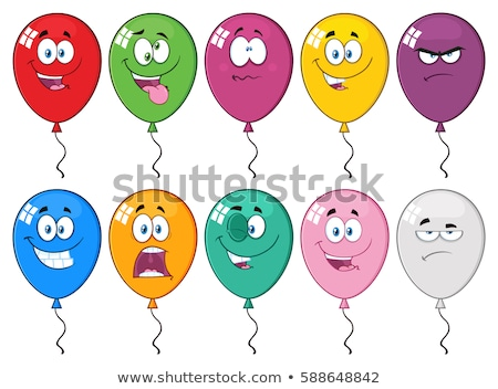 Red Balloons Cartoon Mascot Character With Expressions Stock photo © hittoon