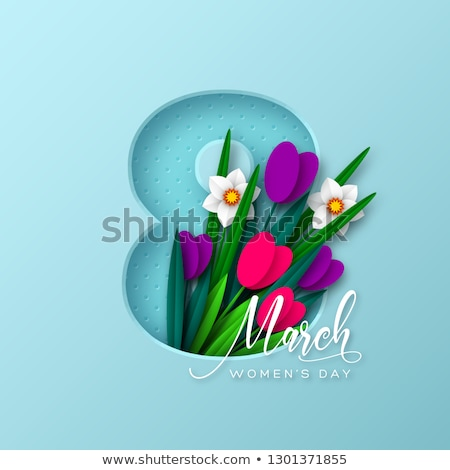 Stock foto: Happy Womens Day Illustration With Tulip Bouquet And 8 March Typography Letter On Pink Background