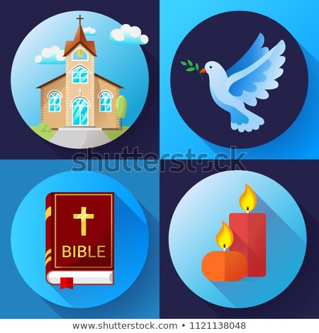 Religion Icons set vector color Flat Design Vector Illustration. Blue dove, old church, candles and  stock photo © MarySan
