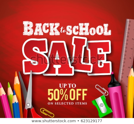 back to school sale poster and banner with colorful title and elements in red background for retail stock photo © ikopylov