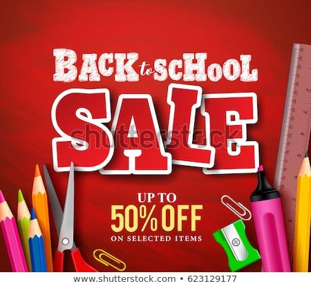 vissza · az · iskolába · terv · színes · ceruza · radír · egyéb - stock fotó © ikopylov