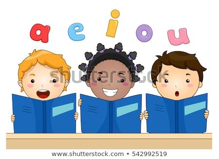 Vowel Letters Small Kids Lesson Stock photo © lenm