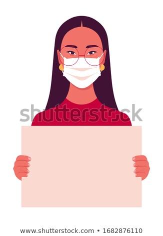 Mulher médico máscara cartaz retro Foto stock © studiostoks