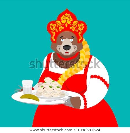 歓迎 ロシア ロシア クマ ウォッカ 食品 ストックフォト © popaukropa