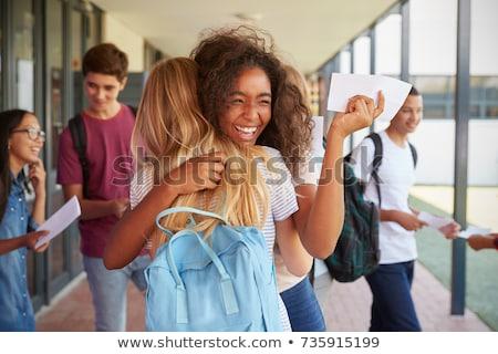 Schoolmeisje zwarte ingesteld boek internet Stockfoto © toyotoyo