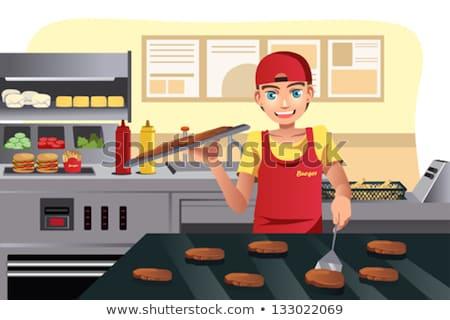 Kok hamburger fastfood restaurant komische cartoon pop art Stockfoto © rogistok