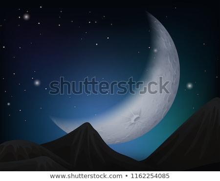 Cresent moon over hills scene Stock photo © bluering