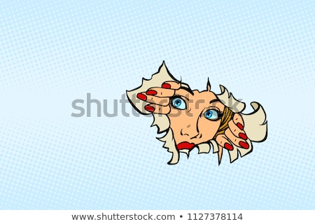 woman looking through torn paper background Stock photo © rogistok