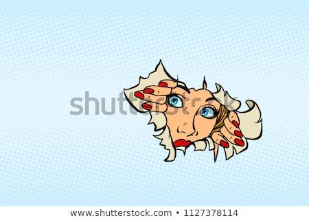 Stok fotoğraf: Kadın · bakıyor · yırtık · kağıt · komik · karikatür · pop · art