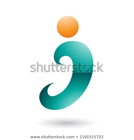 Persian Green Curvy Fun Letter I Vector Illustration Stock photo © cidepix