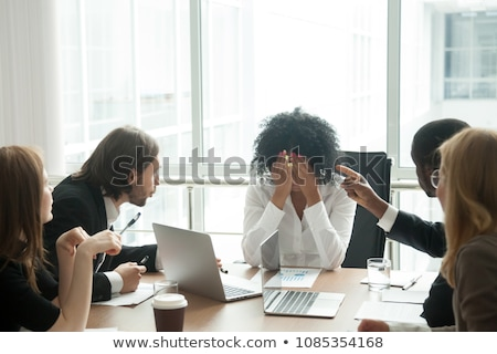 Crying tired or stressed businessman in depression hand hiding face Stock photo © ia_64