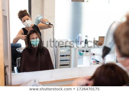 Stockfoto: Man · kapper · lang · haren · klant · vrouw