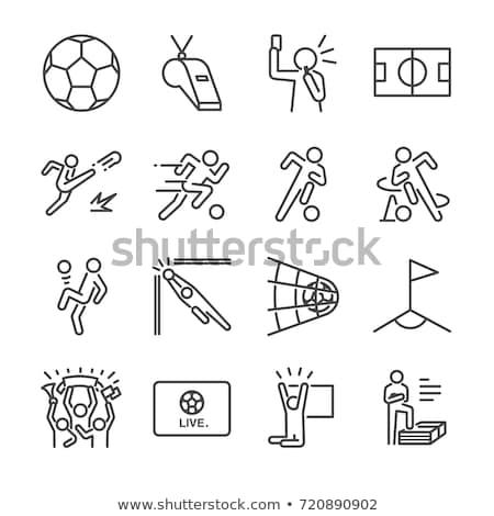 ストックフォト: セット · アイコン · サッカー · プレーヤー · 長い · 対角線