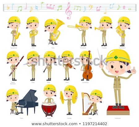 helmet worker women_classic music Stock photo © toyotoyo