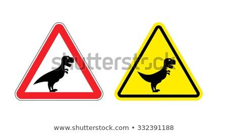 Figyelem veszély tábla elővigyázatos dinoszaurusz mérges ijesztő Stock fotó © popaukropa
